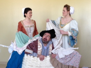 Cast of The Merry Wives of Windsor rehearse a scene for the upcoming opera.  Photo by Pete Raif - April 12, 2013