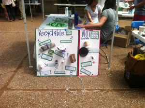 Teaching the community about the importance of recycling at the Environmental Fair on April 26
