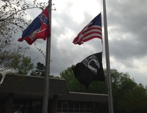 The flags at NMRC at half staff as they will be flown on Memorial Day.  Photo by Pete Raif - April 19, 2013