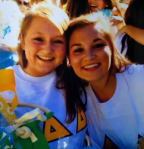 Bid Day at Tri Delta 2011. Ellen Kerce and Elizabeth Murphy. Photo courtesy of Ellen Kerce.