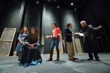 Actors in Six Characters rehearse for opening night. -Kevin Bain, Ole Miss Communications