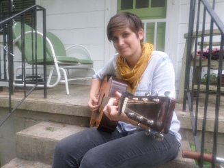 Morgan Pennington practices for upcoming performances on her front porch Tuesday, April 29. -Ashton Dawes